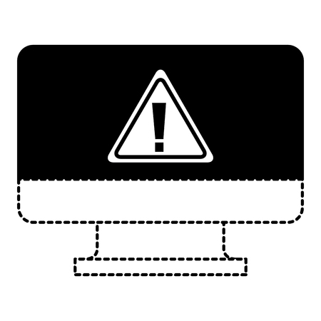 screen computer sign warning alert virus vector illustration dotted line graphic