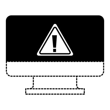 screen computer sign warning alert virus vector illustration dotted line graphic