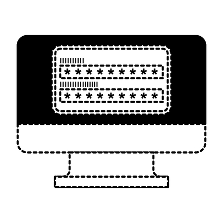 screen computer password login access vector illustration dotted line graphic