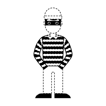 hacker male character with mask and striped shirt vector illustration dotted line graphic
