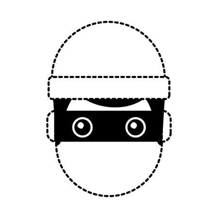 hacker man face with mask and cap cartoon vector illustration dotted line graphic