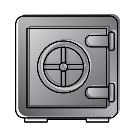 metallic safe box with closed door money storage security vector illustration  イラスト・ベクター素材