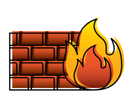 brick wall on fire flame burning vector illustration