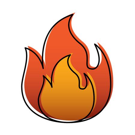 fire flame burning danger hot image vector illustration