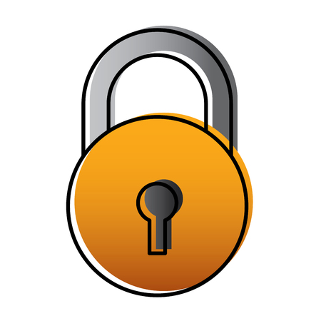 close padlock security protection data cyber safety vector illustration Illustration