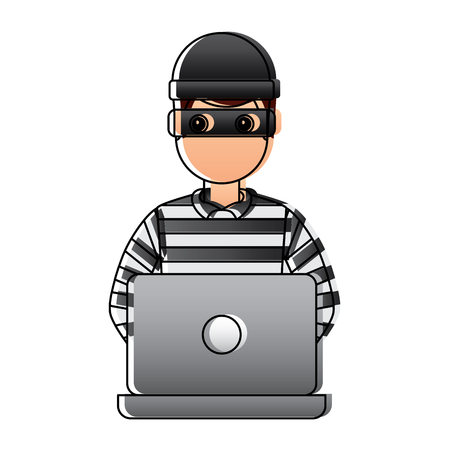 hacker male character working in laptop vector illustration