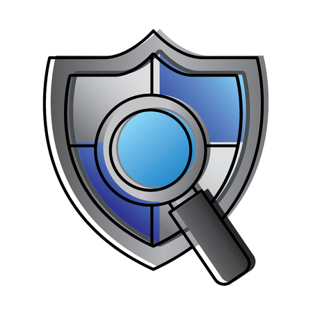 shield protection magnifier search data information vector illustration
