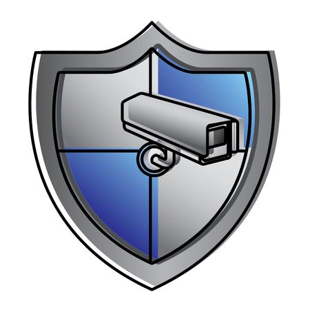 shield protection surveillance camera data system vector illustration
