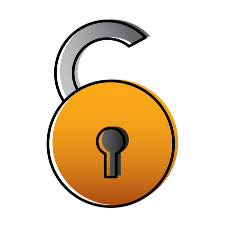 open padlock security risk attack protection vector illustration Stock Illustratie