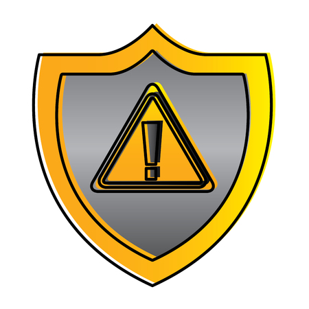 shield protection warning alert error data vector illustration