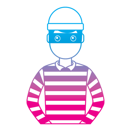 male thief avatar mask cap and striped clothes vector illustration degrade color line graphic