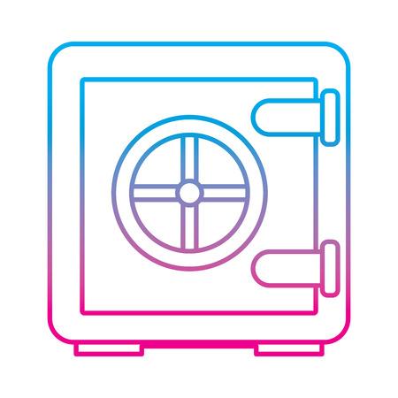 metallic safe box with closed door money storage security vector illustration degrade color line graphic
