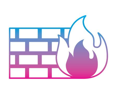 brick wall on fire flame burning vector illustration degrade color line graphic Illustration
