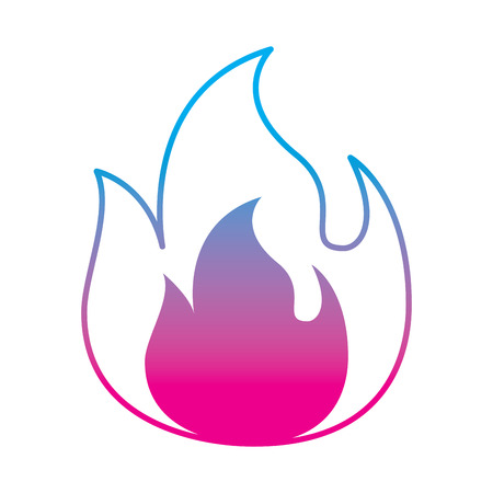fire flame burning danger hot image vector illustration degrade color line graphic