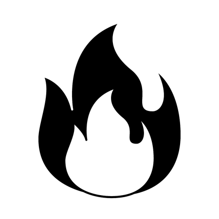 fire flame burning danger hot image vector illustration black and white graphic