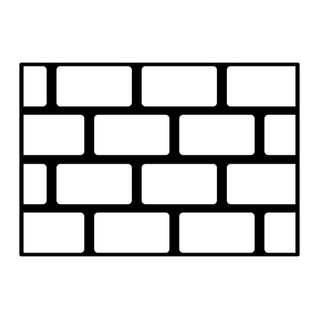 brick wall blocks construction concrete image vector illustration black and white graphic