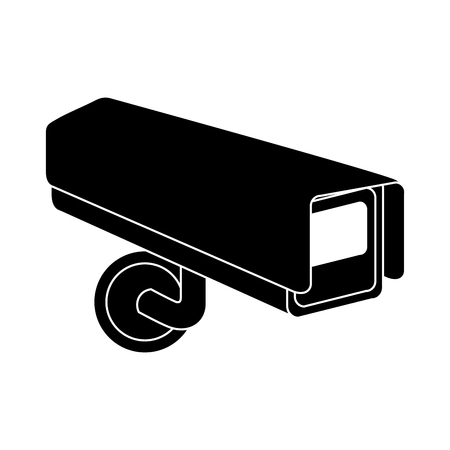 surveillance camera warning privacy safety vector illustration black and white graphic