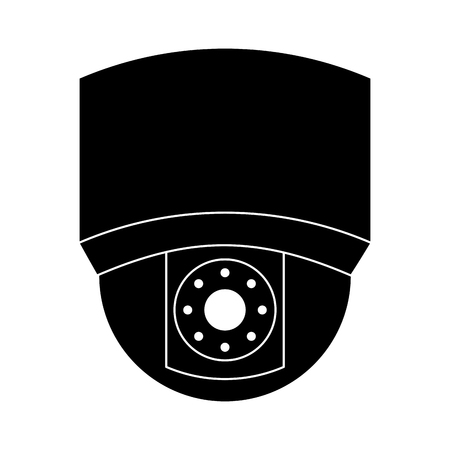 ceiling surveillance camera security technology vector illustration black and white graphic