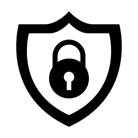 shield protection padlock secure data vector illustration black and white graphic