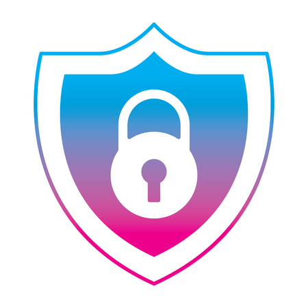 shield protection padlock secure data vector illustration degrade color line graphic