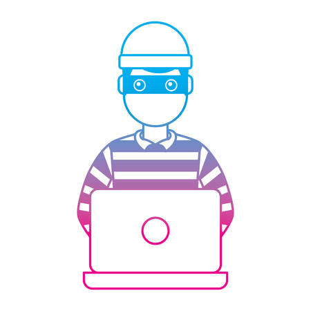 hacker male character working in laptop vector illustration degrade color line graphic