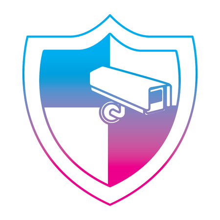 shield protection surveillance camera data system vector illustration degrade color line graphic