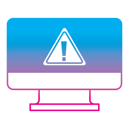 screen computer sign warning alert virus vector illustration degrade color line graphic
