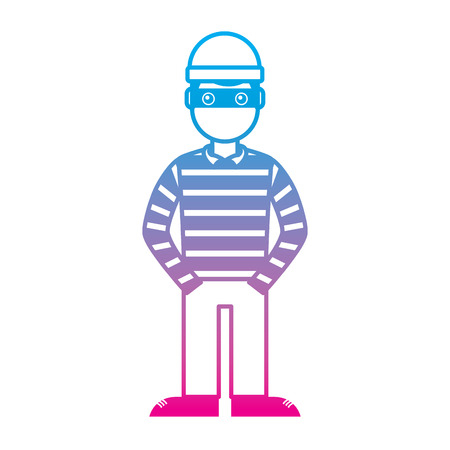 마스크와 스트라이프 셔츠 벡터 일러스트와 함께 해커 남성 캐릭터 컬러 라인 그래픽을 저하 스톡 콘텐츠 - 96061135