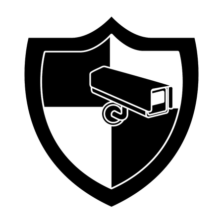 shield protection surveillance camera data system vector illustration  black and white graphic Illustration