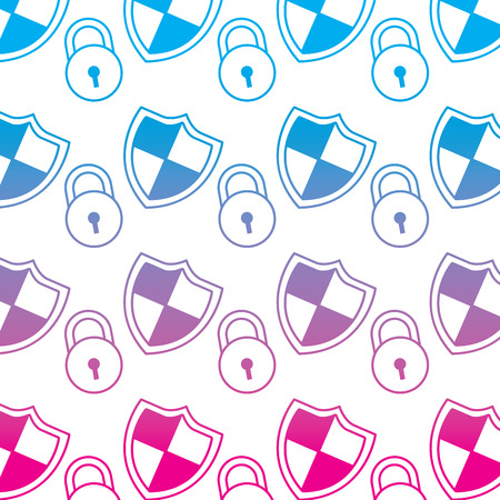 shield protection padlock access security data pattern Illustration