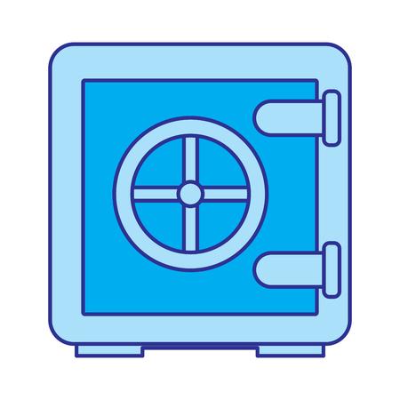 metallic safe box with closed door money storage security vector illustration blue image Çizim