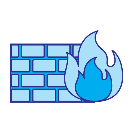 brick wall on fire flame burning vector illustration blue image