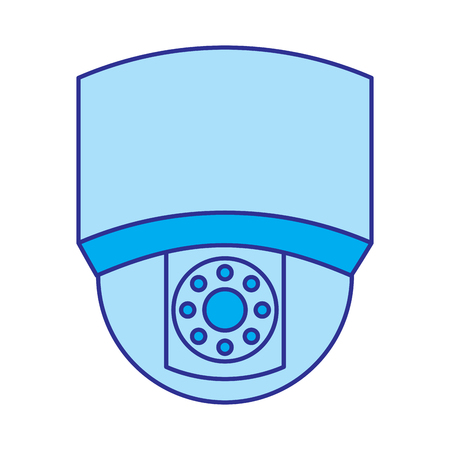ceiling surveillance camera security technology vector illustration blue image Ilustrace