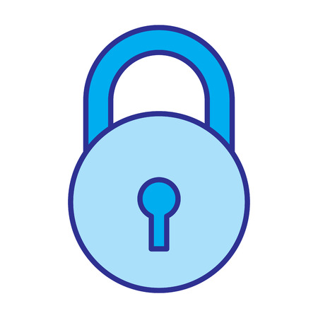 close padlock security protection data cyber safety vector illustration blue image Archivio Fotografico - 96071841
