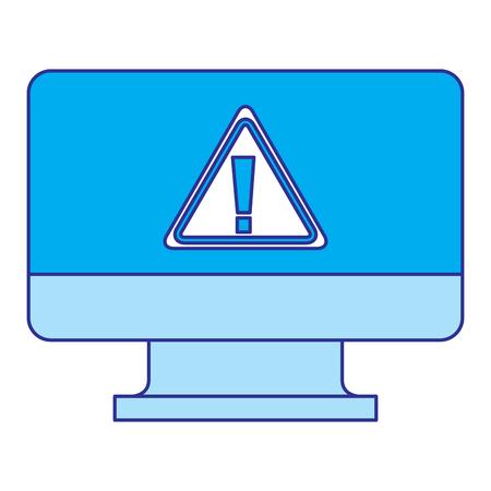 screen computer sign warning alert virus vector illustration blue image