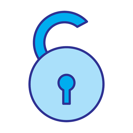 open padlock security risk attack protection vector illustration blue image 向量圖像