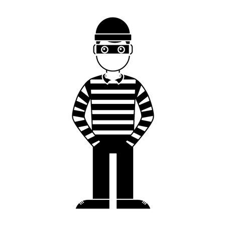 hacker male character with mask and striped shirt vector illustration Çizim