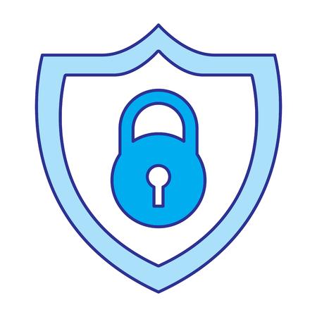 shield protection padlock secure data vector illustration blue image Illustration