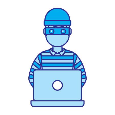 ラップトップベクトルイラスト青い画像で動作するハッカー男性キャラクター  イラスト・ベクター素材