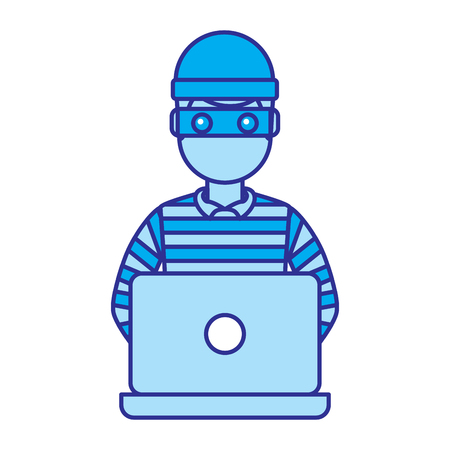 hacker male character working in laptop vector illustration blue image