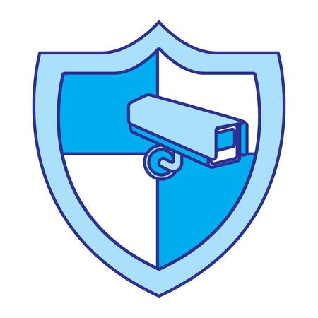 shield protection surveillance camera data system vector illustration blue image Illustration