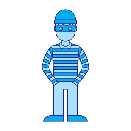 hacker male character with mask and striped shirt vector illustration blue image Çizim