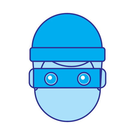 hacker man face with mask and cap cartoon vector illustration blue image