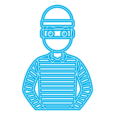 male theft avatar mask cap and striped clothes vector illustration blue neon line image
