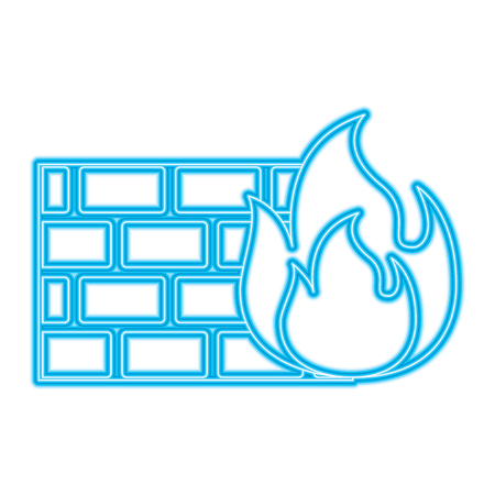 brick wall on fire flame burning vector illustration blue neon line image