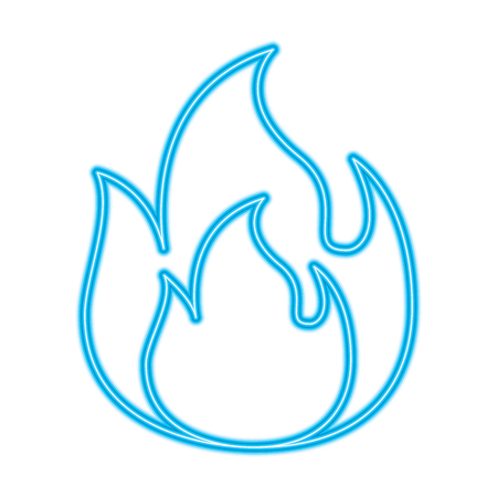 fire flame burning danger hot image vector illustration blue neon line image