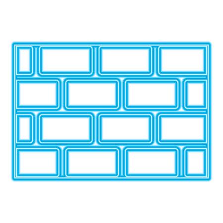 レンガの壁ブロック建設コンクリート画像ベクトルイラスト青いネオンライン画像  イラスト・ベクター素材