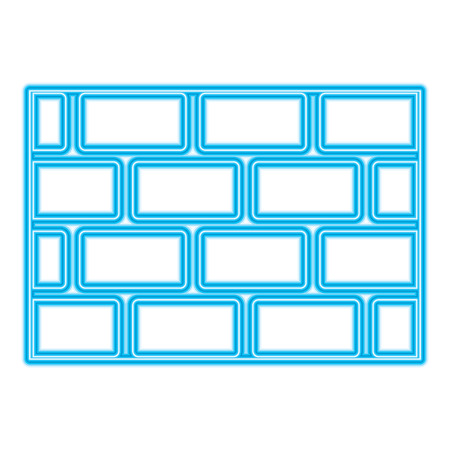 brick wall blocks construction concrete image vector illustration blue neon line image
