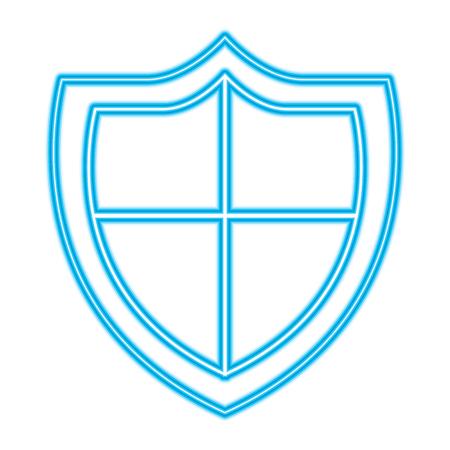 shield protection secure information data symbol vector illustration blue neon line image Иллюстрация