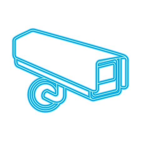 surveillance camera warning privacy safety vector illustration blue neon line image